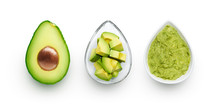 Avocado, Cut Avocado And Avocado Spread