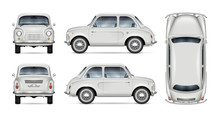 Small Retro Car Vector Mockup On White Background. Isolated Template Of Minicar For Vehicle Branding, Advertising And Corporate Identity. All Elements In The Groups On Separate Layers For Easy Editing