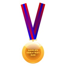 World Greatest Dad Medal On Co...