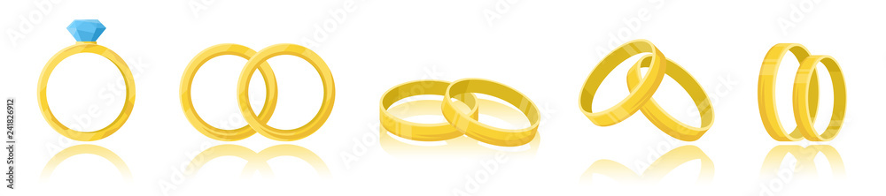 Fototapety, obrazy: Wedding rings set isolated on a white background. Golden ring with shiny diamond. A pair of rings. Realistic object. Simple cute design. Icon or logo. Flat style vector illustration.