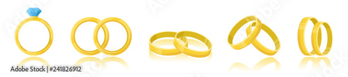 Wedding rings set isolated on a white background Canvas-taulu