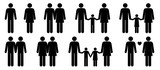Set of stick people in different poses isolated on white background. Different types of families. Simple design stick figures. Black and white Icon or logo. Flat style vector illustration.