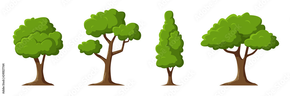 Fototapety, obrazy: Cartoon trees set isolated on a white background. Simple modern style. Cute green plants, forest. Can be used to illustrate any nature or healthy lifestyle topic. Flat style vector illustration.