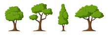 Cartoon Trees Set Isolated On ...