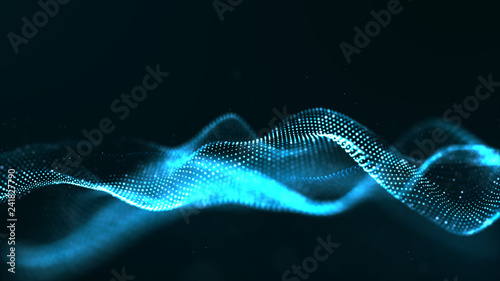 Fotobehang Fractal waves Abstract blue color digital particles wave with dust and light background