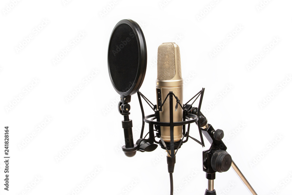 Photo  recording mic isolated On a white background