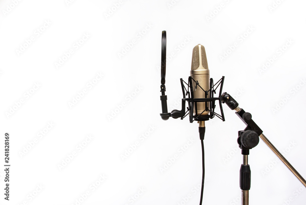 Photo  Studio recording mic isolated On a white background