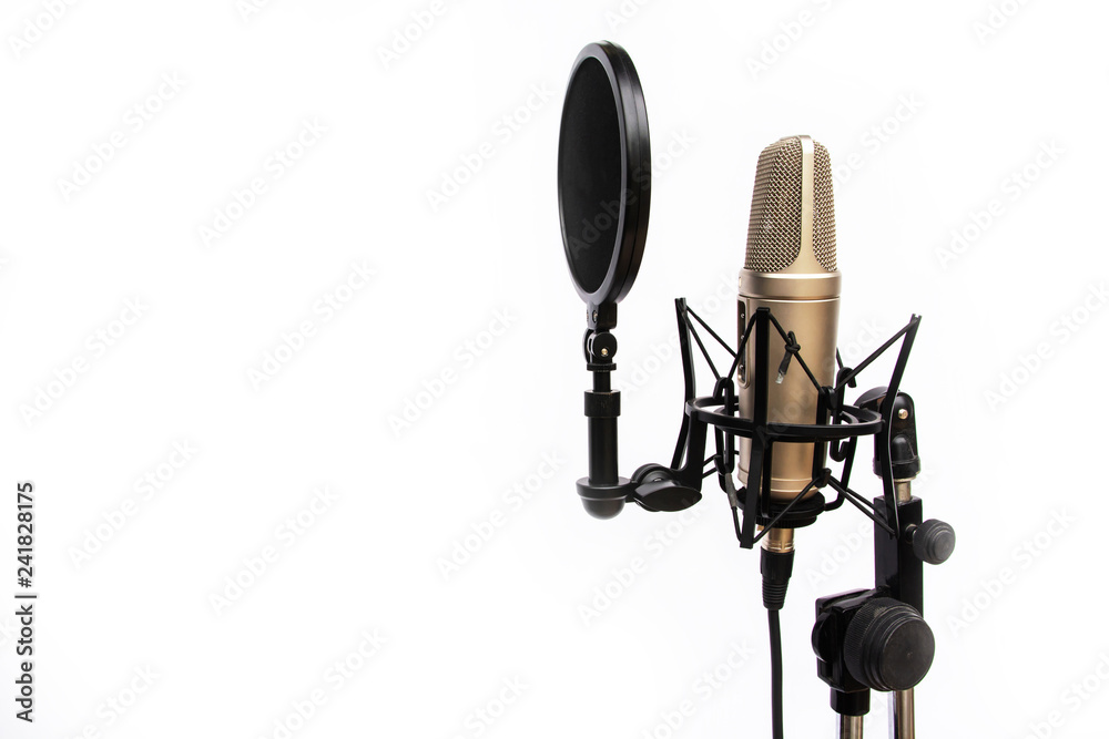 Photo  Voice recording mic isolated On a white background