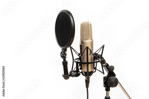 recording mic isolated On a white background Canvas Print