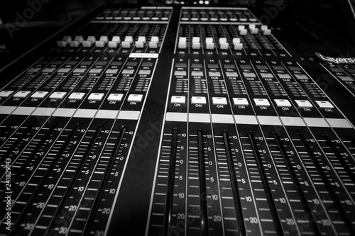 Fotografie, Obraz  Closeup view of Faders on Professional digital Audio mixing control Console