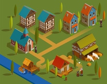 Medieval Settlement Isometric Composition
