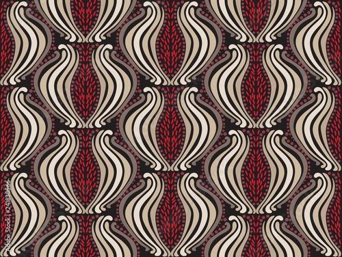 Tapety Art Deco  wektor-wzor-granat-wschodni-wzor-kolor-czerwony
