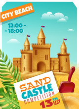 Sandy Castle Competition Realistic Poster