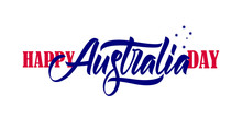 Vector Illustration: Handwritten Brush Type Lettering Composition Of Happy Australia Day With Crux