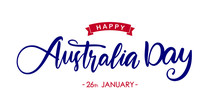 Vector Illustration: Handwritten Modern Brush Lettering Of Happy Australia Day On White Background
