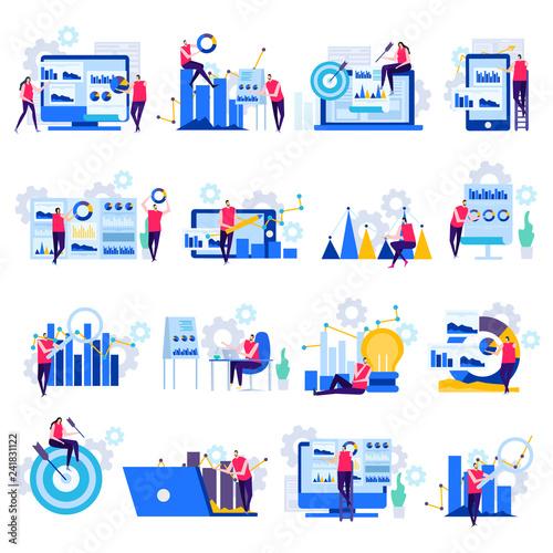 Business Analytics Flat Icons Canvas Print
