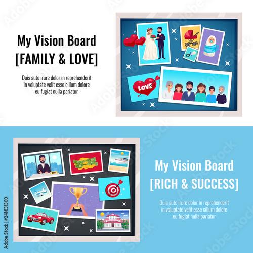 Fototapeta Dreams Vision Board Banners Set obraz na płótnie