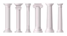 Antique White Columns Realistic Icon Set