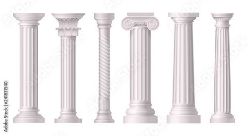 Photo Antique White Columns Realistic Icon Set