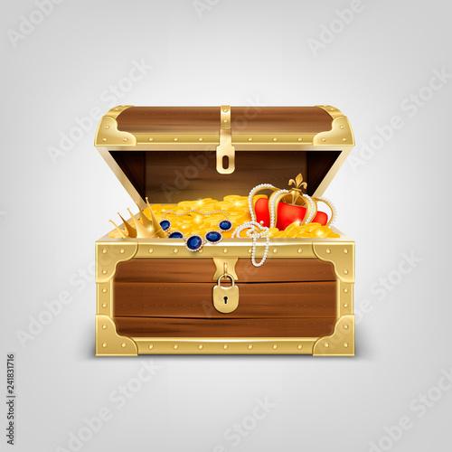 Obraz na płótnie Realistic Treasure Chest Composition