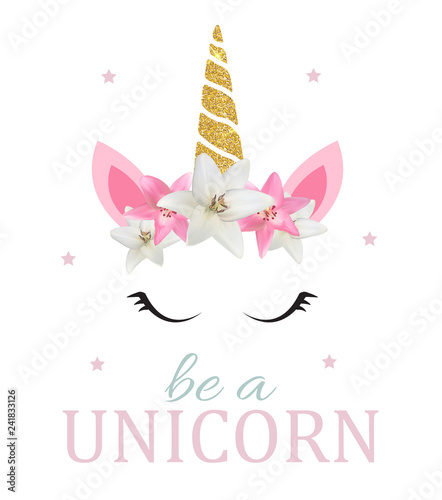 Fotomural Cute be a unicorn background. Vector Illustration