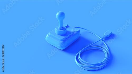 Blue Retro Joystick 3d illustration 3d render