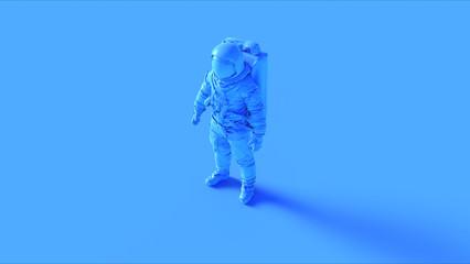 Blue Spaceman Astronaut Cosmonaut 3d illustration 3d render