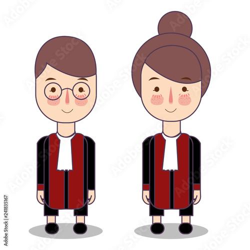 Fényképezés  Cute cartoon vector illustration of a judge