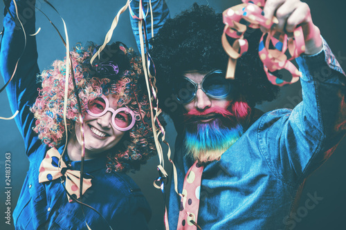 Portrait of party Men and woman in wig and glasses Carneval  #241837363