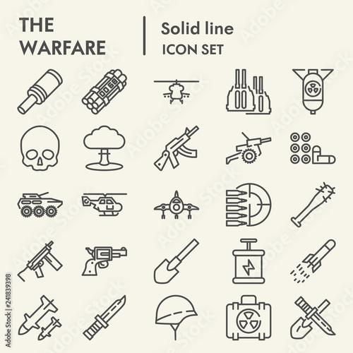 Warfare line icon set, army symbols collection, vector sketches