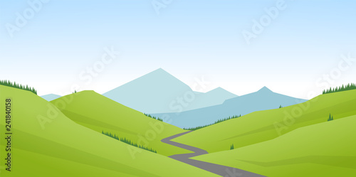 Fototapeta Vector illustration: Cartoon flat summer mountains landscape with green hills and road. obraz