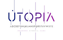 Rounded Stencil San Serif, Alphabet, Uppercase Letters, Typograp