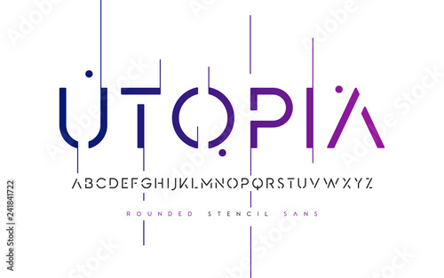 Photographie  Rounded stencil san serif, alphabet, uppercase letters, typograp