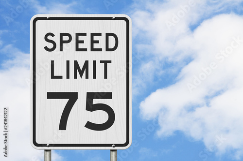 Fotografía  US 75 mph Speed Limit sign
