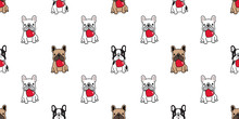 Dog Seamless Pattern Vector Heart Valentine French Bulldog Sitting Cartoon Scarf Isolated Tile Background Repeat Wallpaper Illustration