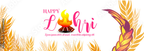 Obraz na plátně Lohri celebration with Crop and borfire text with white background with typography