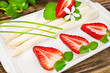White asparagus and strawberries