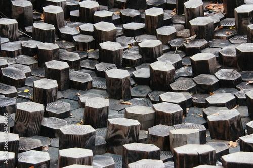 Fotografering  Hexagones en bois