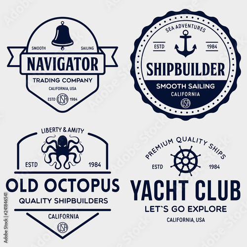 Set of sea and nautical typography badges and design elements. Templates for company logo. Marine cruise, yacht club, trading companym, shipbuilding and other themes.