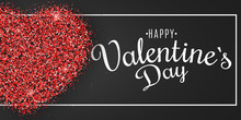 Valentine's Day Banner. Heart Of Red Glitters With Calligraphy In Frame. Festive Web Cover. I Love You. Graphic Luxury Element. Brilliant Dust. Vector Illustration
