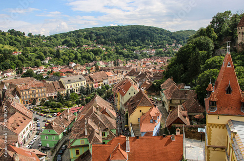 Fotografie, Obraz  Panoramic view over the cityscape and roof architecture in Sighisoara, Romania