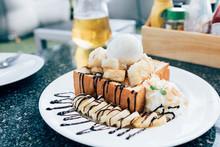 Honey Toast With Banana And Vanilla Ice-cream.