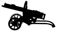 Machine Gun Maxim. Silhouette Vector Military Weapon