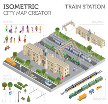 3d Isometric Train Station And...