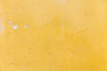Bright Yellow Color, Painted Wall Texture Grunge Background