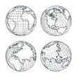 Earth planet vector sketch illustration. Hand drawn doodle globe set