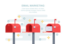 Mail, Email Marketing Strategy Business Concept. Red Letterbox With Message In Envelope. Vector Illustration.