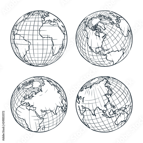 Earth planet vector sketch illustration. Hand drawn doodle globe set Wall mural