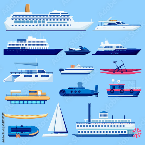 Water vessel transport icons set Canvas-taulu