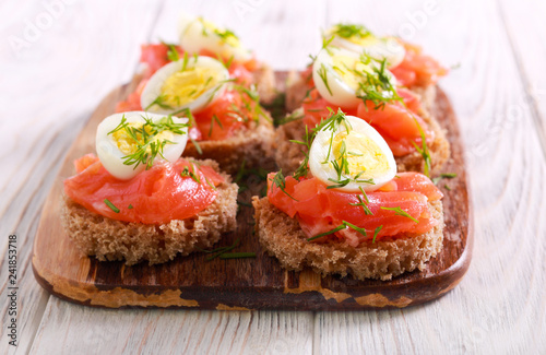 Snacks with salmon, quill egg